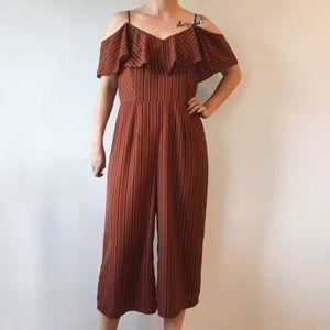 Striped Cropped Wide Leg Jumpsuit